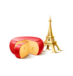 Eiffel tower french cheese wedge set vector