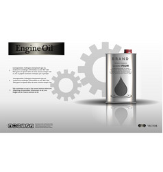 Engine oil in an iron jar on a white background vector
