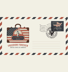 Envelope with suitcase statue of liberty and flag vector
