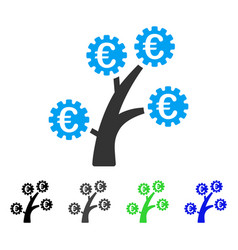 euro technology tree flat icon vector image
