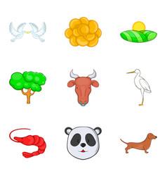 Fauna world icons set cartoon style vector