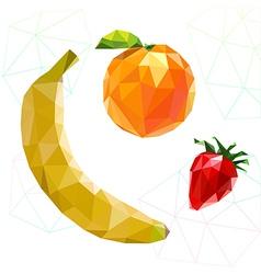 Fruit set of polygons Banana orange strawberry vector