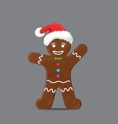 Gingerbread man in xmas hat vector
