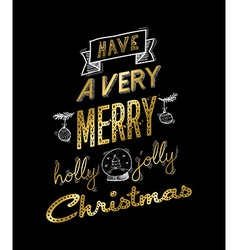 Gold christmas greeting card design with doodles vector image