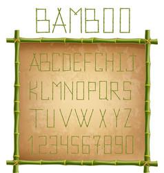 green bamboo alphabet inside of wooden stick vector image