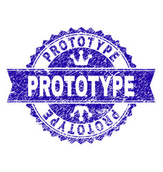 Grunge textured prototype stamp seal with ribbon vector