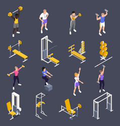 Gym workout fitness isometric set vector