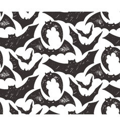 Halloween seamless pattern with hand drawn sketch vector image
