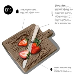 Hand-drawn cutting board and strawberry for food vector