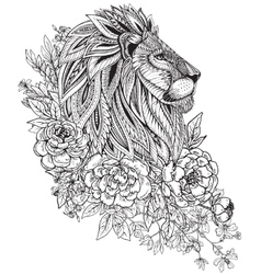 hand drawn graphic ornate head lion with ethnic vector image