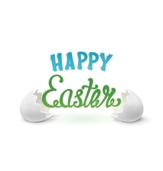 happy easter background with two egg shells vector image