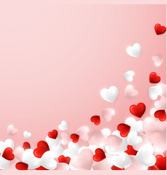 happy valentines day background flying red pink vector image