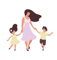 Happy woman walks with children mom dancing vector