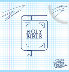 holy bible book line sketch icon isolated on white vector image