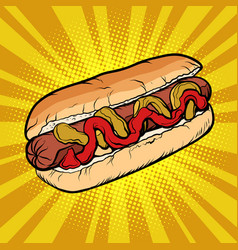hot dog sausage ketchup mustard vector image