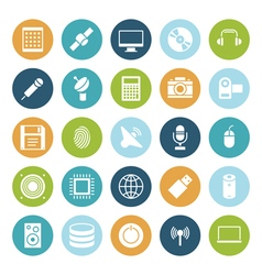 Icons plain circle technology vector