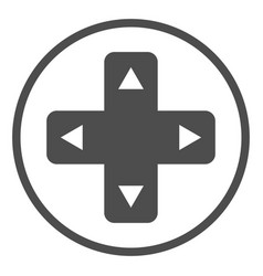 joystick button with arrows solid icon game pad vector image