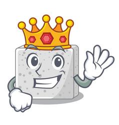 King fresh feta cheese isolated on maskot vector