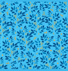 Leaves endless pattern with leaf and berry on vector