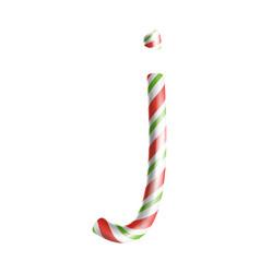 letter j 3d realistic candy cane alphabet vector image