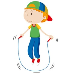 Little boy skipping the rope vector