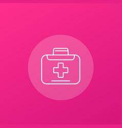 Medical bag icon line vector