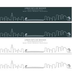 Miami single line skyline banner vector
