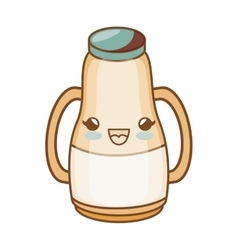 Milk bottle kawaii style isolated icon vector