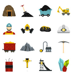 miner set flat icons vector image
