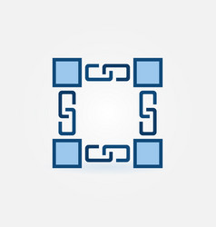 minimal blockchain technology icon or logo element vector image
