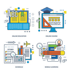 Modern education types learning technologies vector