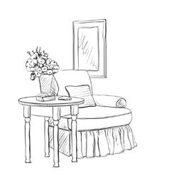 Modern interior hand drawing vector