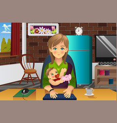 mother holding her baby while working at home vector image