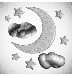 Night sky moon with clouds vector