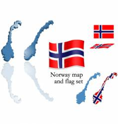 norway map and flag set vector image