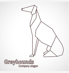 Origami contours dog breed greyhound vector