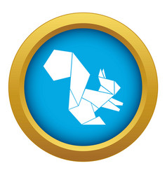 Origami squirrel icon blue isolated vector