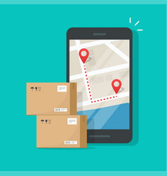parcel delivery tracking on cellphone or mobile vector image
