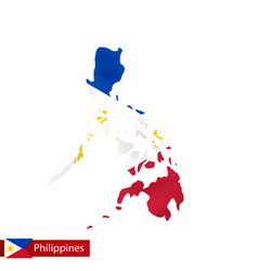 Philippines map with waving flag country vector