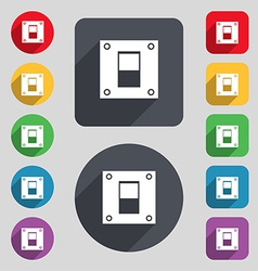 Power switch icon sign A set of 12 colored buttons vector image