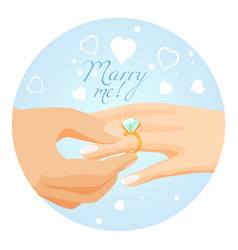 proposal to marry with beautiful shiny diamond vector image