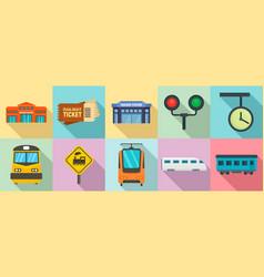 railway station icons set flat style vector image