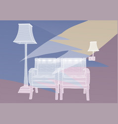 room with two chairs vector image