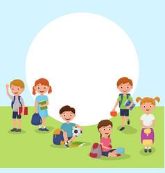 School or kindergarten outdoor on playground with vector