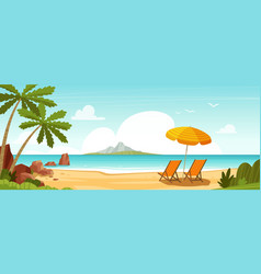Sea beach and sun loungers seascape vacation vector