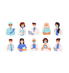 set doctors nurses and paramedics in face vector image
