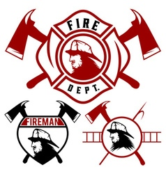 set fire department emblems and badges vector image