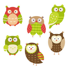 set of christmas owls set of christmas owls vector image