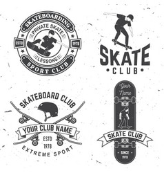 set of skateboard club badges vector image