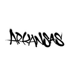 Sprayed arkansas font graffiti with overspray in vector